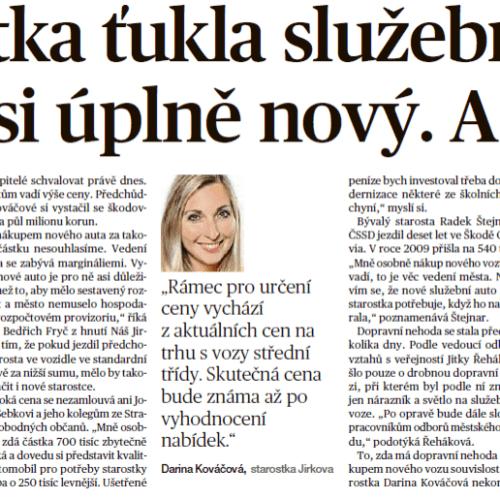 Starostka za ANO, Kováčová, ťukla služební vůz, koupí si úplně nový a dražší. K situaci se vyjádřil Jiří Šebek.